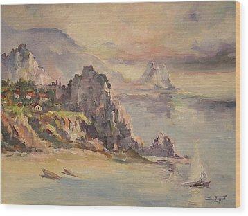 A Village Behind The Cliff Wood Print by Tigran Ghulyan
