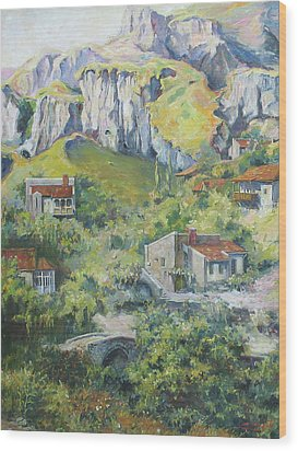 Wood Print featuring the painting A Village Nestled In The Foothills by Tigran Ghulyan