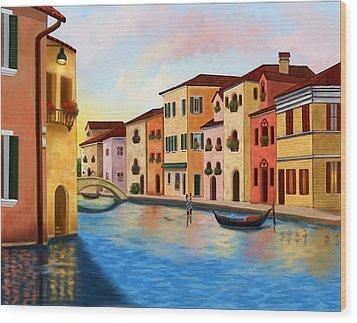 A Vision Of Venice Wood Print by Sena Wilson