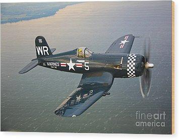 A Vought F4u-5 Corsair In Flight Wood Print