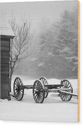 A Wagon In Winter Wood Print