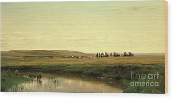 A Wagon Train On The Plains Wood Print by Thomas Worthington Whittredge
