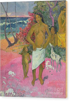 A Walk By The Sea Wood Print by Paul Gauguin