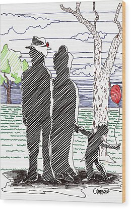 A Walk In The Park Wood Print by Teddy Campagna