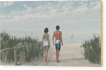 A Walk In The Sand Dunes Wood Print by Jayne Wilson