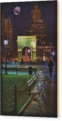 A Walk In Washington Square Wood Print by Lee Dos Santos