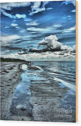 A Walk On The Beach Wood Print by Jeff Breiman