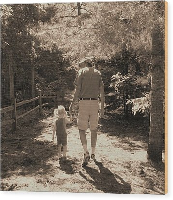 A Walk With Papa Wood Print by Laurianne Nash