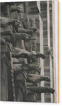 Wood Print featuring the photograph A Wall Of Gargoyles Notre Dame Cathedral by Christopher Kirby