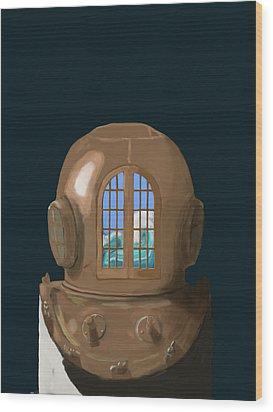 A Wave Inside The Helmet Wood Print