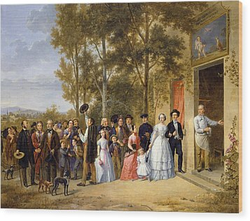 A Wedding At The Coeur Volant Wood Print by French School