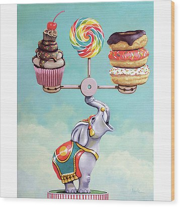 Wood Print featuring the painting A Well-balanced Diet by Linda Apple