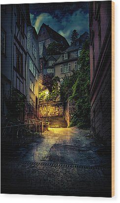 Wood Print featuring the photograph A Wet Evening In Marburg by David Morefield