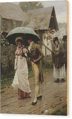 A Wet Sunday Morning Wood Print by Edmund Blair Leighton