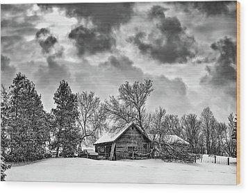A Winter Sky Monochrome Wood Print by Steve Harrington