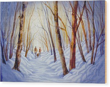 A-winter-walk Wood Print by Nancy Newman