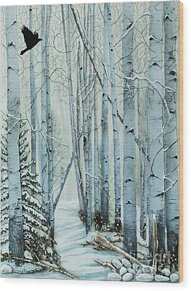 Wood Print featuring the painting A Winter's Tale by Stanza Widen