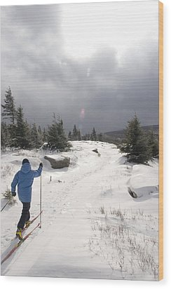 A Woman Cross Country Skiing Wood Print by Skip Brown
