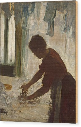 Wood Print featuring the painting A Woman Ironing by Edgar Degas