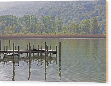 A Wooden Pier At A Small Lake Wood Print by Joana Kruse