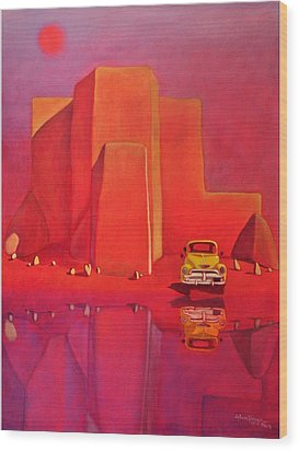 Wood Print featuring the painting A Yellow Truck With A Red Moon In Ranchos by Art West