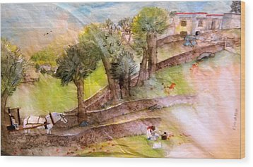 Wood Print featuring the painting a young artist dreams of Italy by Debbi Saccomanno Chan
