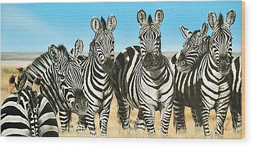 A Zeal Of Zebras Wood Print