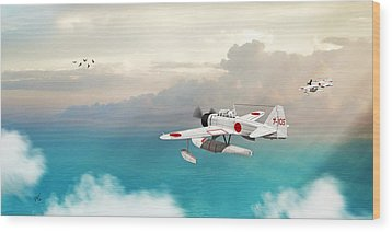 Wood Print featuring the digital art A6m2-n Sea Plane by John Wills