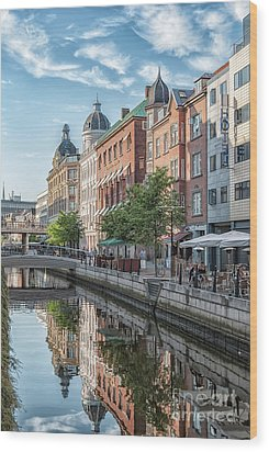 Wood Print featuring the photograph Aarhus Afternoon Canal Scene by Antony McAulay