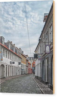 Wood Print featuring the photograph Aarhus Backstreet Scene by Antony McAulay