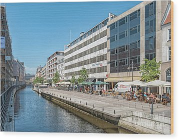 Wood Print featuring the photograph Aarhus Canal Activity by Antony McAulay