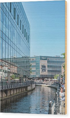 Wood Print featuring the photograph Aarhus Lunchtime Canal Scene by Antony McAulay