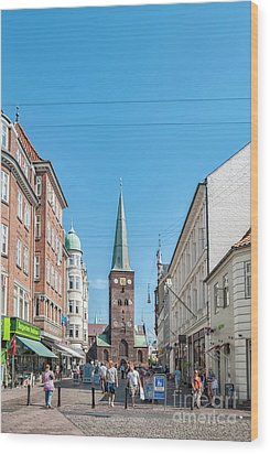 Wood Print featuring the photograph Aarhus Street Scene by Antony McAulay