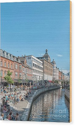 Wood Print featuring the photograph Aarhus Summertime Canal Scene by Antony McAulay
