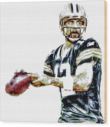Wood Print featuring the photograph Aaron Rodgers Green Bay Packers Painted by David Haskett