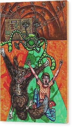 Aarron And Spacedog Chased By An Alien Wood Print by Al Goldfarb