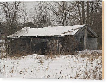 Abandoned And Cold Wood Print by Elaine Mikkelstrup