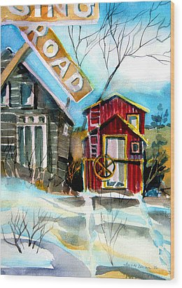 Abandoned Caboose Wood Print by Mindy Newman