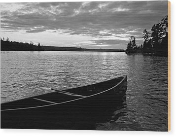 Abandoned Canoe Floating On Water Wood Print by Keith Levit