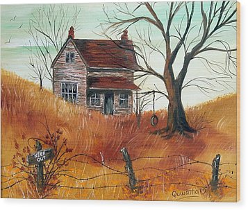 Wood Print featuring the painting Abandoned Farmhouse by Quwatha Valentine