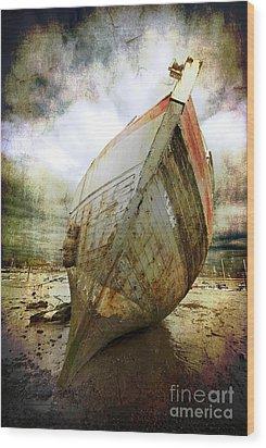 Abandoned Fishing Boat Wood Print by Meirion Matthias