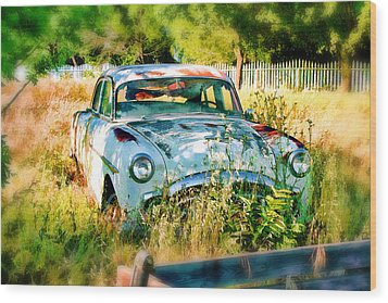 Abandoned Hotrod Wood Print by Michael Cleere