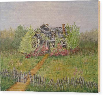 Wood Print featuring the painting Abandoned House by Quwatha Valentine