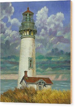 Abandoned Lighthouse Wood Print by John Lautermilch