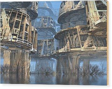 Abandoned Swamp Village Wood Print