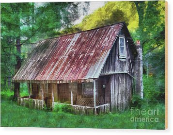 Wood Print featuring the photograph Abandoned Vintage House In The Woods Ap by Dan Carmichael