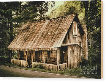 Wood Print featuring the photograph Abandoned Vintage House In The Woods by Dan Carmichael
