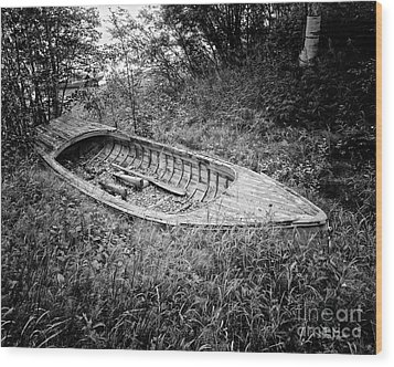 Wood Print featuring the photograph Abandoned Wooden Boat Alaska by Edward Fielding