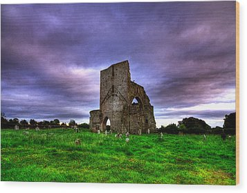 Abbeylara Abbey Wood Print by Kim Shatwell-Irishphotographer
