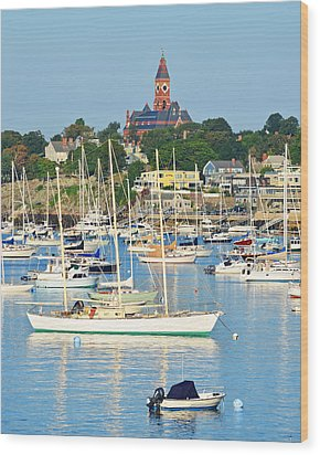 Abbot Hall Over Marblehead Harbor From Chandler Hovey Park Wood Print
